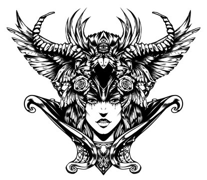 Beautiful woman with horns on her head