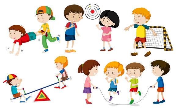 Set of children doing activites