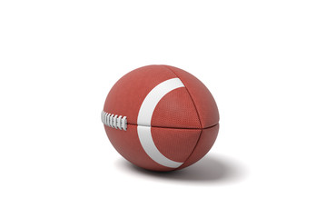 3d rendering of a red oval ball for American football on a white background.
