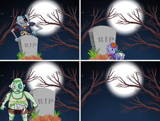 Set of zombie scenes