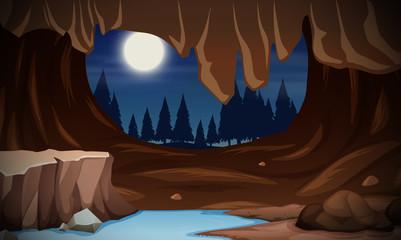 A moonlight cave landscape
