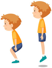 Boy doing jumping exercises