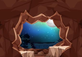 Foto auf Leinwand Braun A moonlight cave landscape