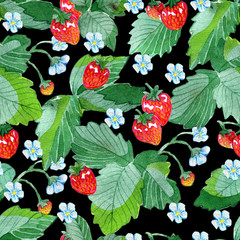 Seamless patterns with strawberry leaves, flowers and ripe berries on black. Watercolor illustration with summer season background, botanical drawings for print, fabric, textile