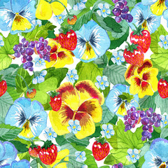 Seamless pattern with garden pansy flowers, strawberry leaves and berries, ripe currant on blue. Watercolor illustration with summer season background, botanical drawings for print, fabric, textile