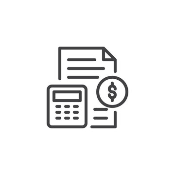Money document and calculator outline icon. linear style sign for mobile concept and web design. Financial accounting simple line vector icon. Symbol, logo illustration. Pixel perfect vector graphics