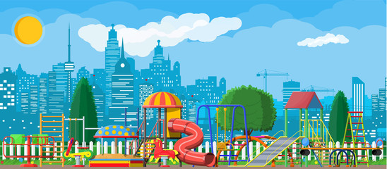 Kids playground kindergarten panorama. Urban child amusement. Slide ladder, rocking toy on spring, slide tube, swing carousel balancer, sandbox. City park. Cityscape. Vector illustration flat style
