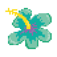 pixelated tropical flower with exotic petals