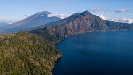 Batur Lake and volcano from east caldera landscape view,Bali island,Indonesia