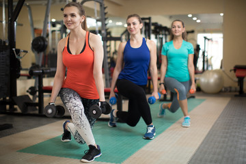 Group of happy women with dumbbells flexing muscles in gym. Concept of sport, training, fitness, health and lifestyle.