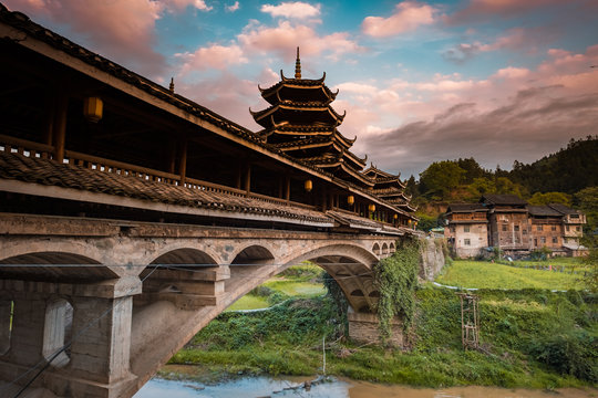 Old wind and rain bridge in Chengyang Dong village, Guangxi, China