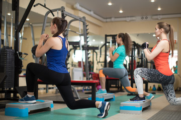 Group of young girls flexing muscles in gym. Concept of sport, fitness, health and lifestyle.