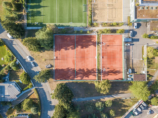 Deurstickers Aerial view of tennis court in Switzerland, Europe