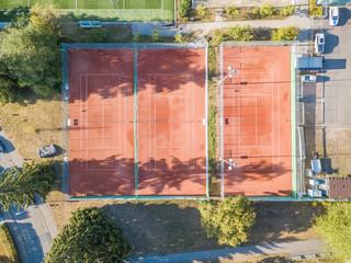 Aerial view of tennis court in Switzerland, Europe