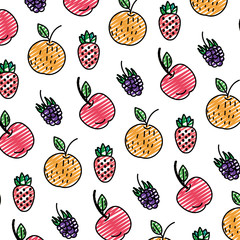doodle delicious fresh fruits nutrition background