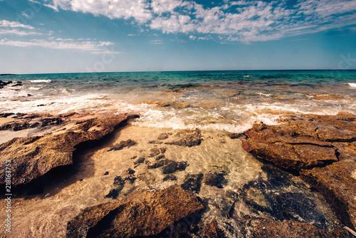 View Of Beautiful Beach Weaves Hitting The Rocks Scenic Wallpaper At Seaside