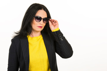 Serious woman with sunglasses