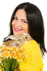 Close up of spring woman with bunny