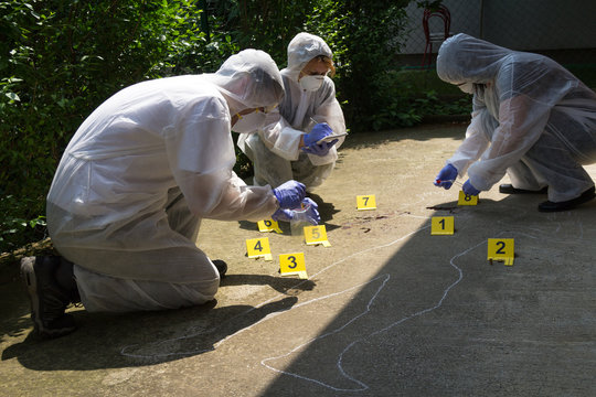 A team of three forensics collects proofs. Crime scene