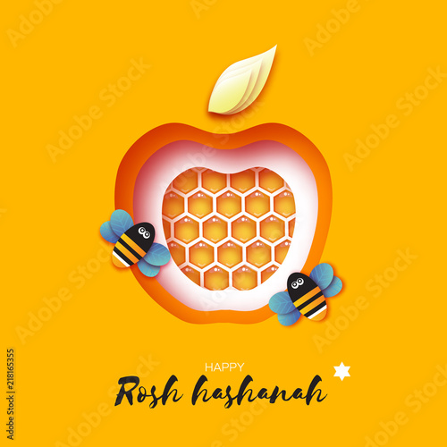 jewish new year rosh hashanah greeting card apple shape with honey gold cell and