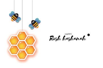 Jewish New Year, Rosh Hashanah Greeting card. Origami Hexagon Honey gold cell and Honey Bee in paper cut style. Happy holiday in Hebrew. White background.