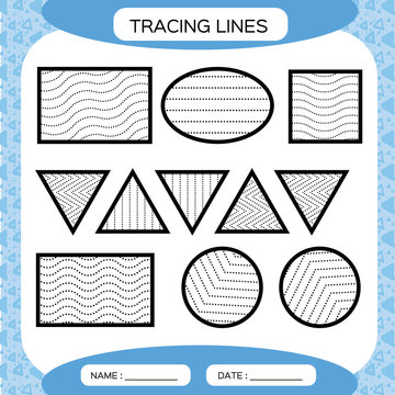 Tracing Lines. Kids education. Preschool worksheet. Basic writing. Kids doing worksheets. Fine motor skills. Waves and zigzag lines. Blue background.Square, circle. triangle.