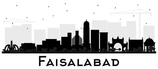 Faisalabad Pakistan City Skyline Silhouette with Black Buildings Isolated on White.