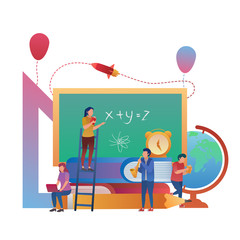 Basic Concept of Student Learning Together, Education Illustration Flat Design