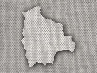 Karte von Bolivien auf altem Leinen