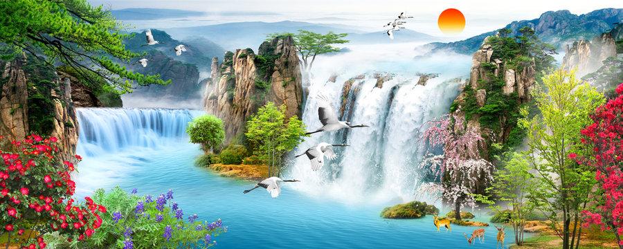 Waterfall, flying birds