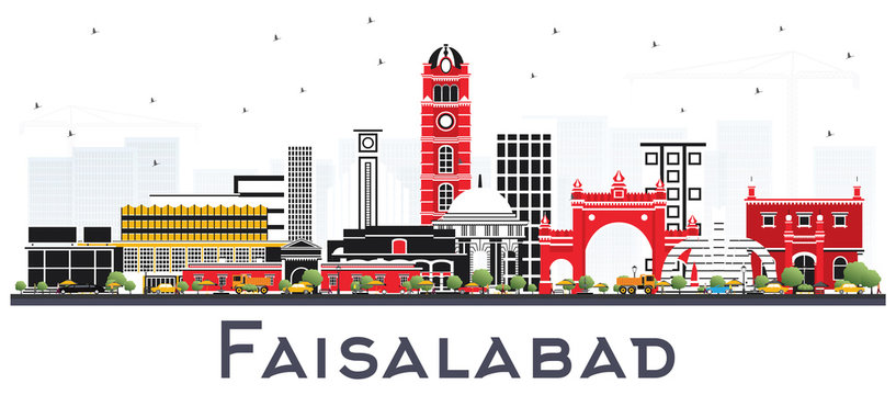 Faisalabad Pakistan City Skyline with Gray Buildings Isolated on White.