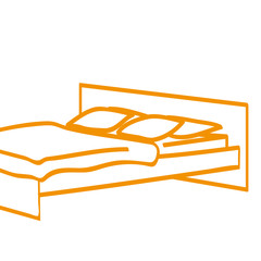 Handgezeichnetes Bett in orange