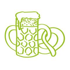 Handgezeichnetes Bier mit Brezel in hellgrün