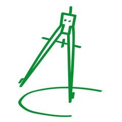 Handgezeichneter Zirkel in grün
