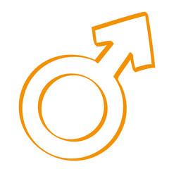 Handgezeichnetes Symbol für männlich in orange
