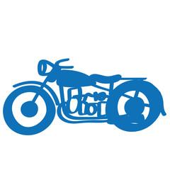 Handgezeichnetes Motorrad in dunkelblau