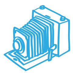 Handgezeichnete alte Kamera in blau