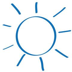 Handgezeichnete Sonne in dunkelblau