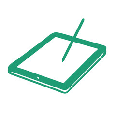 Handgezeichneter Tablet-PC in grün