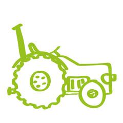 Handgezeichneter Traktor in  hellgrün