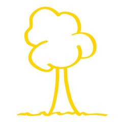 Handgezeichneter baum in gelb