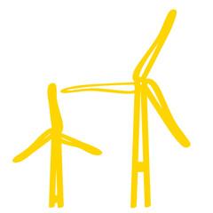 Handgezeichnetes Windrad in gelb
