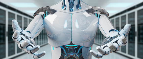 White male cyborg opening his two hands on server background 3D rendering