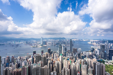 panoramic city skyline in hong kong china