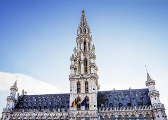 Brussels, Belgium, Town Hall. The most impressive building on the square, the Grand place is the town Hall. The Gothic town Hall was built in the 15th century.