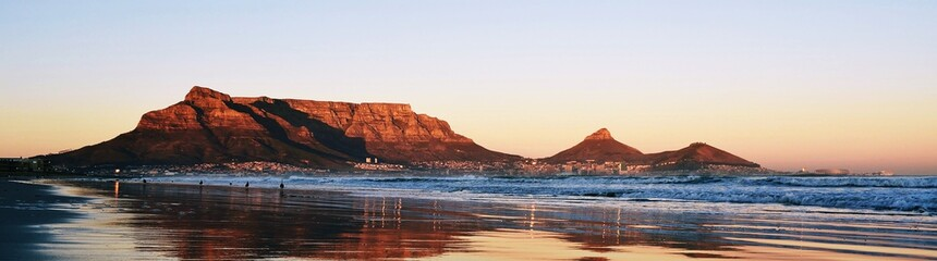 Landscape of Cape Town and Table Mountain at sunrise