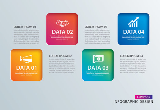 Infographics square paper with 4 data template. Vector illustration abstract background. Can be used for workflow layout, business step, tag, banner, web design.