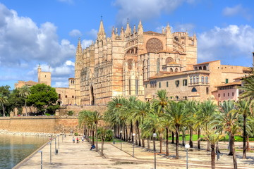 Poster Europese Plekken Cathedral of Santa Maria of Palma (La Seu), Palma de Mallorca, Spain
