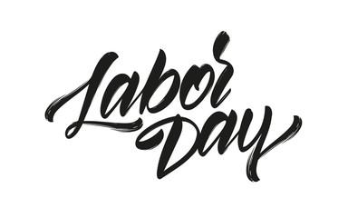 Vector illustration: Handwritten brush type lettering of Labor Day on white background.