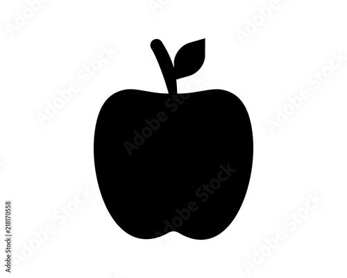 Black Apple Silhouette Fruit Image Vector Icon Logo Symbol Set